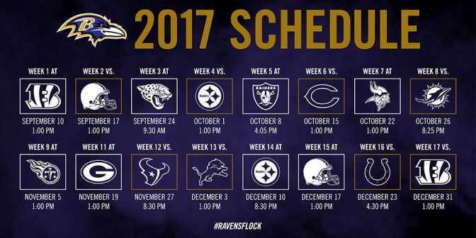 Baltimore Ravens 2017 schedule